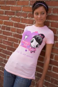 Woman wearing the Lolligag Kickin' It Old School T-shirt
