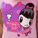 Kickin' It Old School t-shirt includes an image of Lolligag as a ballerina in front of Moot atop a boombox