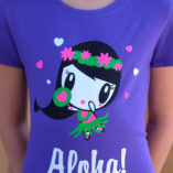 Art of Lolligag in a hula dress on a purple t-shirt