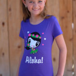 Girl wearing Aloha Lolligag Kids Tee