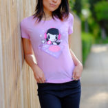 Woman wearing the DJ Lolligag shirt