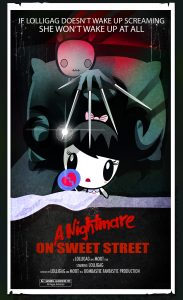 Movie poster of Lolligag in bed with a scary figure coming through her pillow like in a dream