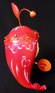 """Aloha! Lolligag custom toy, aka """"Love Paddle,"""" by Miss Mindy from behind"""