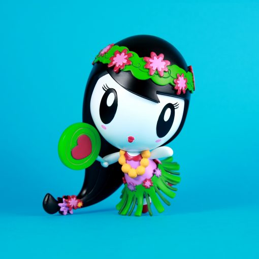 Lolligag art toy, in a hula girl theme with a grass skirt, lollipop and flower wreath
