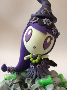 Aloha Lolligag art toy customized to look like a witch