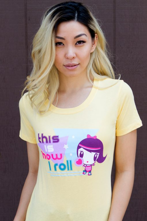 Women wearing Lolligag How I Roll Adult Tee