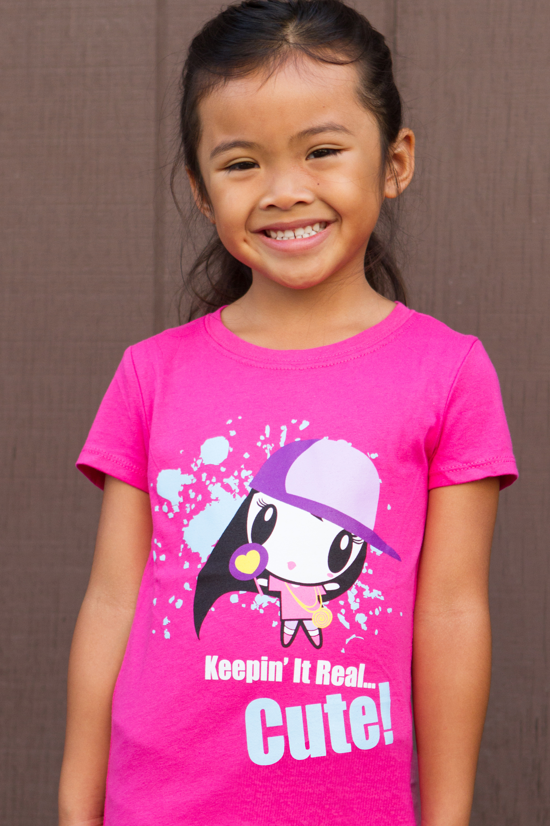 Girl wearing Lolligag Keeping' It Real Cute Kids T-shirt