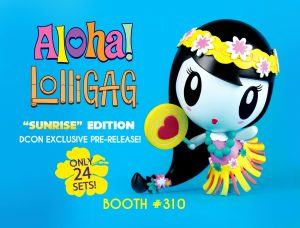 Lolligag vinyl toy featuring Lolligag as a hula girl from Hawaii, complete with grass skirt, floral wreath and lollipop