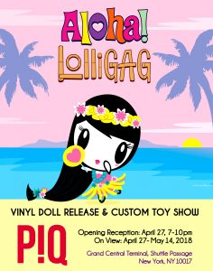 Lolligag dressed as a hula girl dancing above details about an upcoming art show at P!Q on April 27, 2018
