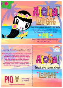 Art of Lolligag dressed in Polynesian attire on a postcard with art show information