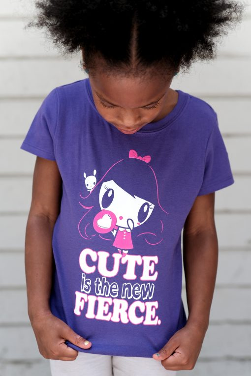 Girl wearing the Cute Is The New Fierce Lolligag and Moot Tee