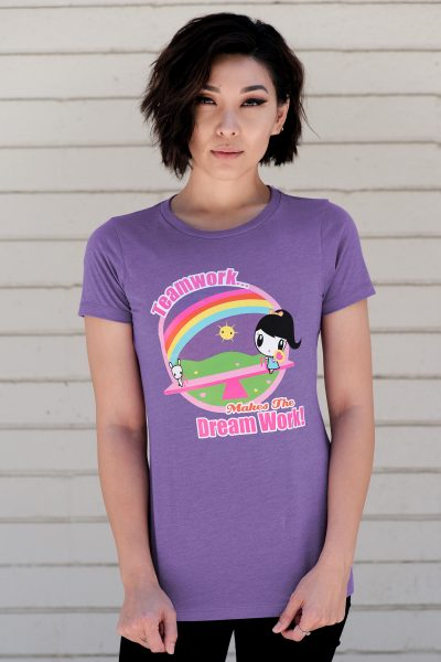 A Woman wearing the Teamwork Makes the Dream Work Lolligag T-shirt