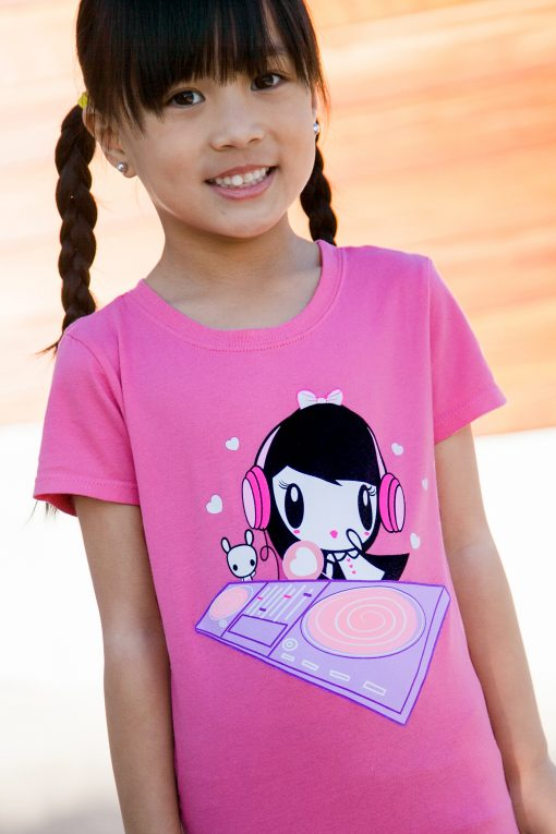Girl wearing the DJ Lolligag T-shirt