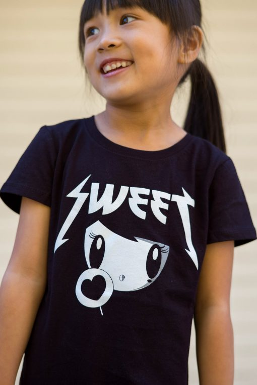 Girl wearing Sweet Lolligag T-shirt