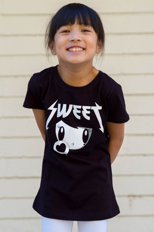 Smiling girl wearing the Sweet Lolligag T-shirt