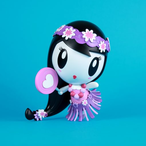 Lolligag dressed as a hula girl in a purple color