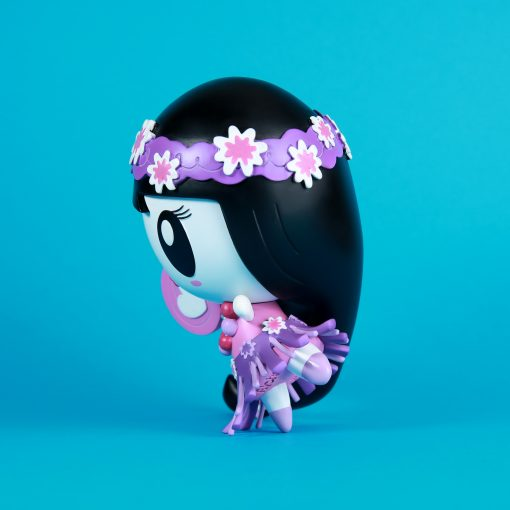Lolligag dressed as a hula girl in purple