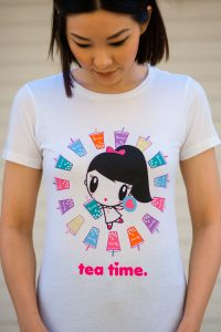 Women wearing Lolligag Tpumps t-shirt