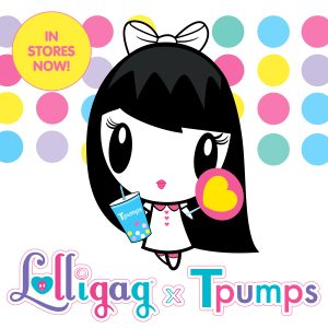 Lolligag Tpumps Graphic with Lolligag holding a boba tea drink