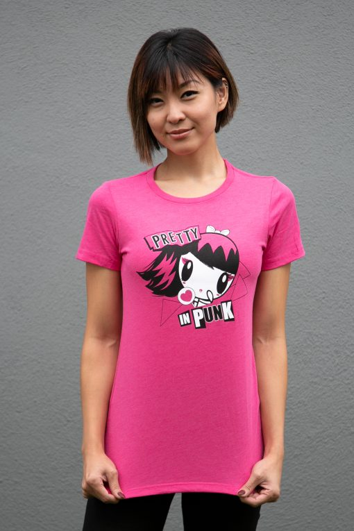 Woman wearing a Lolligag punk tee