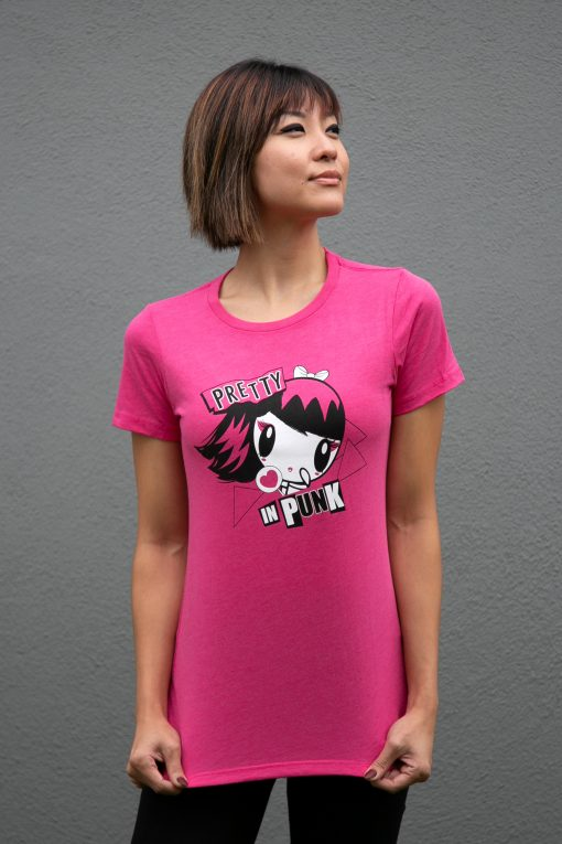 Woman wearing a Lolligag punk shirt
