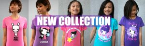 Women and girls wearing a series of Lolligag shirts with the headline New Collection