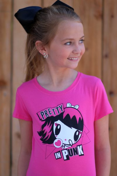 Girl wearing Pretty in Punk Lolligag Tee