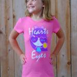 Girl wearing Hearts In My Eyes Lolligag shirt