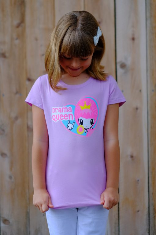 Girl looks down at t-shirt with Lolligag graphic