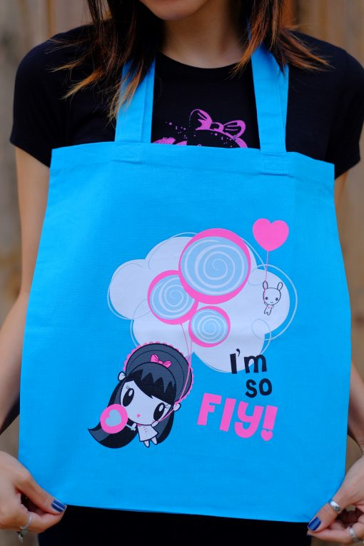 Women wearing Lolligag tote around her neck
