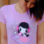 Women look down at DJ Lolligag shirt