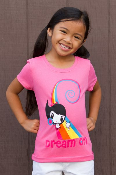 Girl wearing Dream On Lolligag T-shirt
