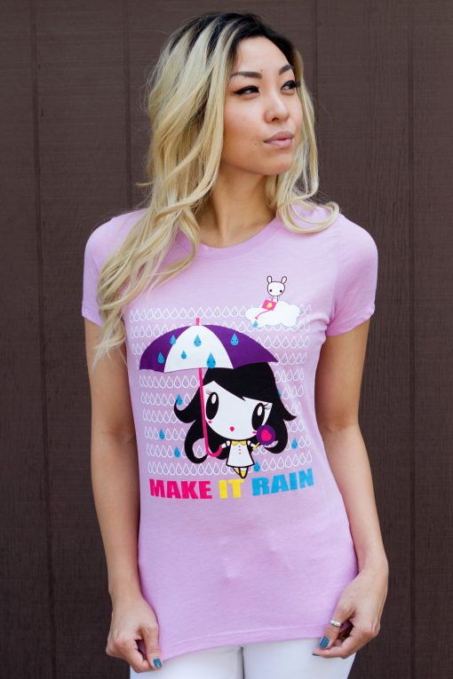 Model wearing Make It Rain Lolligag Women's Tee
