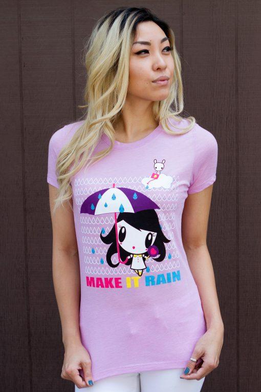 Model wearing Make It Rain Lolligag Women's Tee