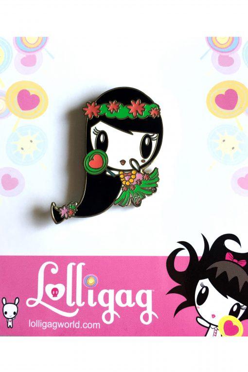 Enamel pin of Lolligag in hula girl attire