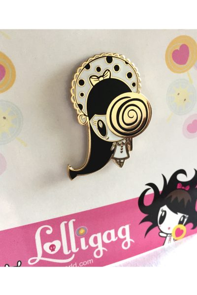 Lolligag with a lollipop enamel pin