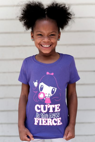 Girl wearing the Cute Is The New Fierce Lolligag T-shirt