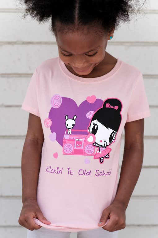 Girl wearing the Kickin' It Old School Lolligag Kids T-shirt
