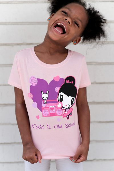 Girl Wearing the Kickin' It Old School Lolligag Kids Tee