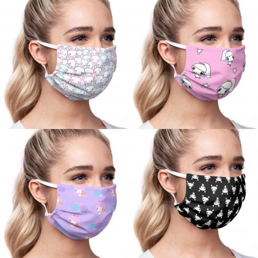 4 pictures of a woman wearing Lolligag and Moot face masks