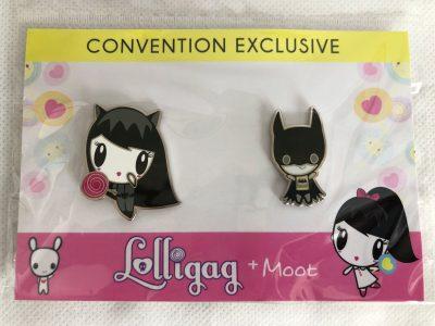 Lolligag at Catwoman and Moot as Batman enamel pins