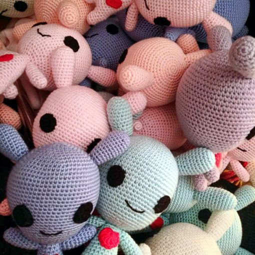 A plethora of handmade moot plushes