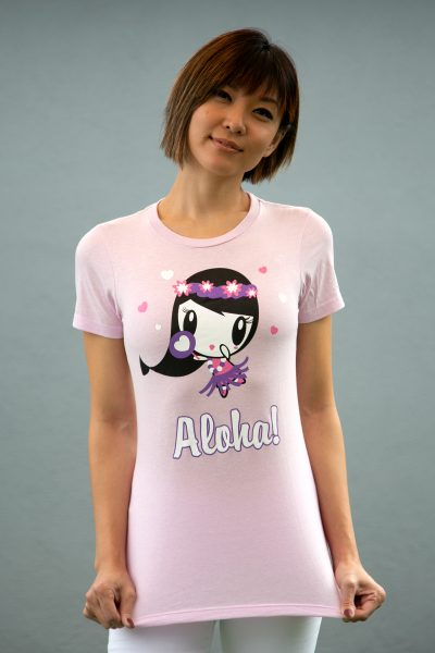 Women wearing a tee shirt featuring artwork of Lolligag as a hula girl