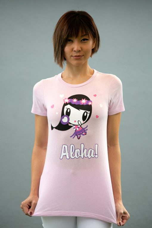Women wearing a tee shirt featuring artwork of Lolligag as a hula girl