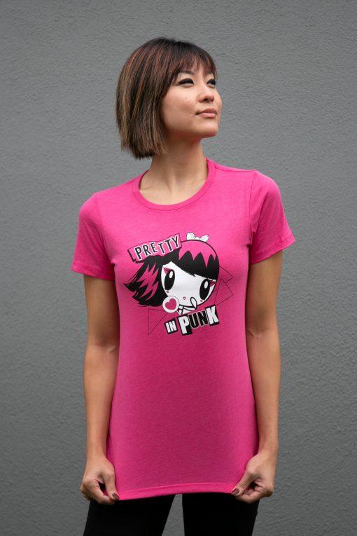 Woman wearing a Lolligag punk shirt